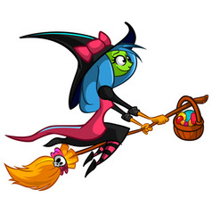 Halloween cute witch flying on her broom cartoon vector