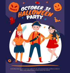 halloween kids party poster vector image