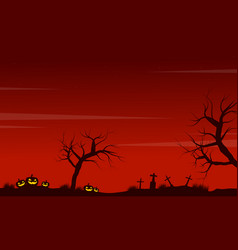 Halloween scenery pumpkin grave background vector