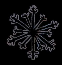 hand drawing chalk snowflake rose vector image