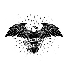 Hand Drawn Eagle with ribbon for text vector