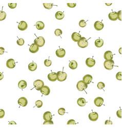 hand drawn green apple pattern vector image
