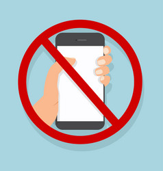 hand holding smartphone no cell phone vector image
