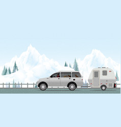 happy couple driving car on road in winter1 vector image