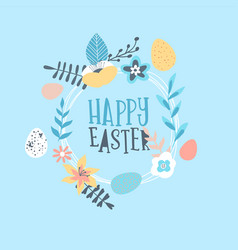 happy easter card spring flower and eggs vector image