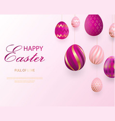 happy easter lettering with pink gold realistic vector image
