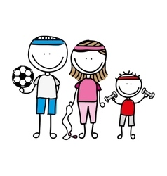 Happy family sport drawing isolated icon design vector