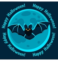 Happy halloween greeting card with moon and flying vector image