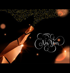 Happy new year card copper 3d champagne vector