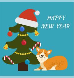 happy new year tree and dog vector image