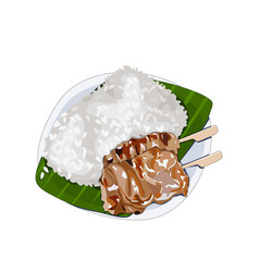 Isolated set pork grilled and steamed sticky ri vector