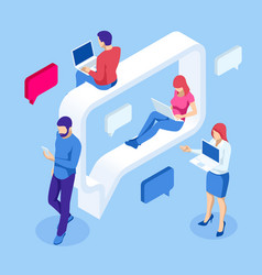 Isometric concept social media network digital vector