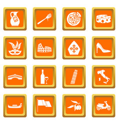 Italia icons set orange vector
