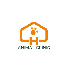 letter h home animal clinic veterinary symbol logo vector image