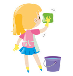 little girl cleaning with cloth vector image