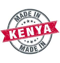 Made in kenya red round vintage stamp vector