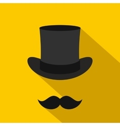 Male black mustache and cylinder icon flat style vector