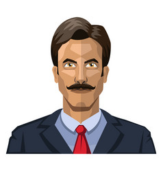 man with mustaches and short black hair on white vector image