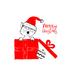 merry christmas greetings cards hand drawn vector image