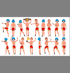 Mma player male muay thai poses muscular vector