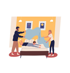 mother and father make bed with playful kid happy vector image