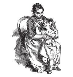 Mother dressing child vintage vector