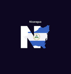 nicaragua initial letter country with map vector image
