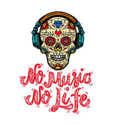 no music life hand drawn lettering phrase vector image