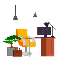 office workplace office desk pc modern vector image