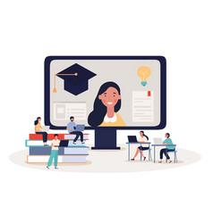 Online student webinar or e-learning concept vector