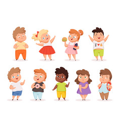 overweight children fat kids eating different vector image