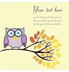 Owl on an autumn branch with place for your text vector