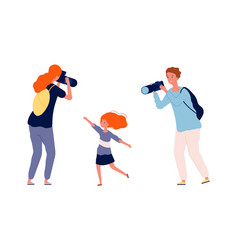 parents and kid mother and father making photo vector image