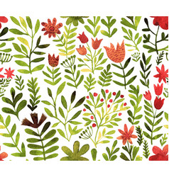 Pattern with flowers and plants floral vector