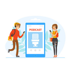people doing live podcasts on smartphone young vector image
