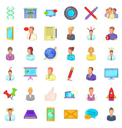 Phone business icons set cartoon style vector