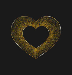 poster with hearts from gold confetti sparkles vector image