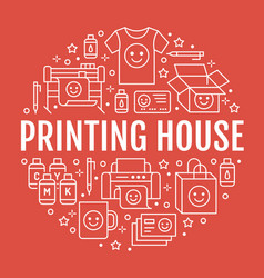 Printing house circle poster with flat line icons vector