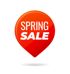Red pin on white background spring sale vector