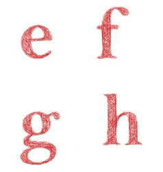 Red sketch font set - lowercase letters e f g h vector