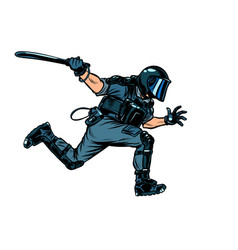 Riot police with a baton vector