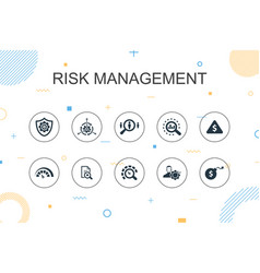 Risk management trendy infographic template thin vector
