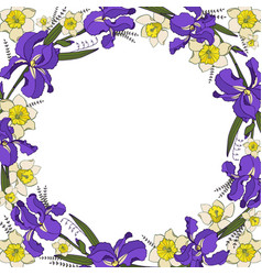 round garland with iris and narcissus vector image