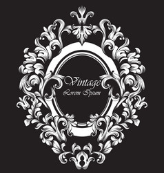round silver frame classic rich ornamented vector image