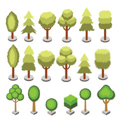 set isometric 3d various shape trees isolated vector image