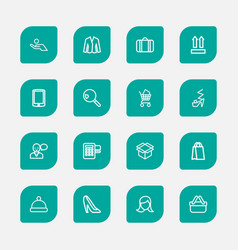 set of 16 editable business outline icons vector image vector image