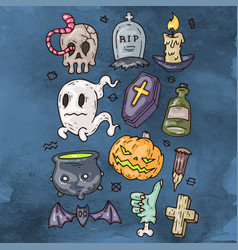 Set of cartoon happy halloween icons halloween vector