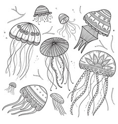 set of jellyfishes in ethnic boho style vector image