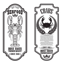 set seafood flyers with lobster and crab vector image