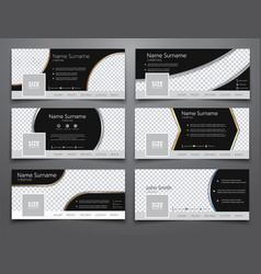 Set size 851x314 pixels black banners vector